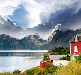 Marvelous Red House On A Norway Fjord HD Desktop Background
